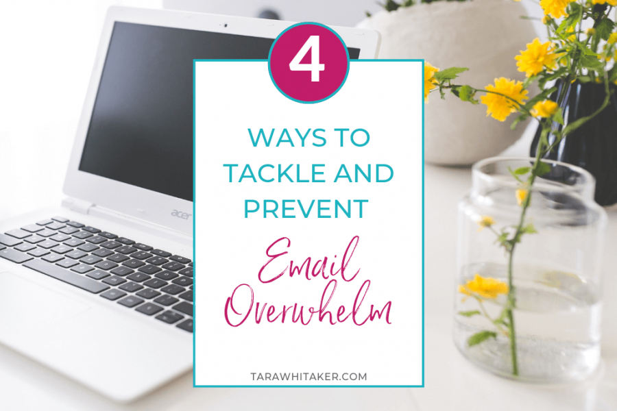 email overwhelm graphic with laptop